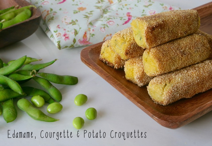 Edamame, Courgette and Potato Croquettes recipe vegan baby safe for baby lead weaning