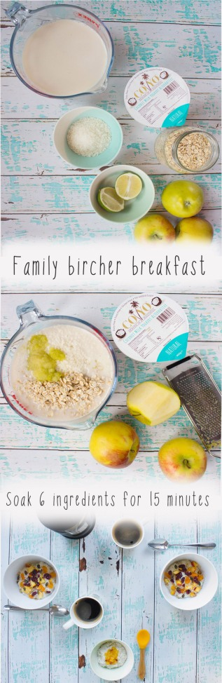 Easy Vegan Bircher recipe for the family. It's baby weaning safe with only 6 ingredients that soak in 15 minutes
