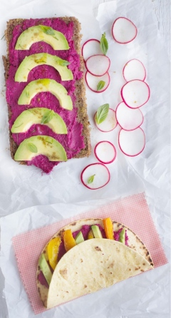 Hot pink beet and apple hummus vegan baby safe